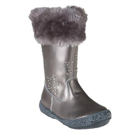Ασημί δερμάτινες μπότες με συνθετικού γούνα στο άνοιγμα και τρουκ