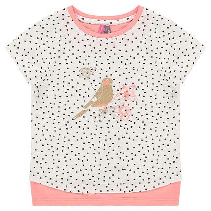 Κοντομάνικη μπλούζα 2 σε 1 με πουά και χρυσαφί τύπωμα