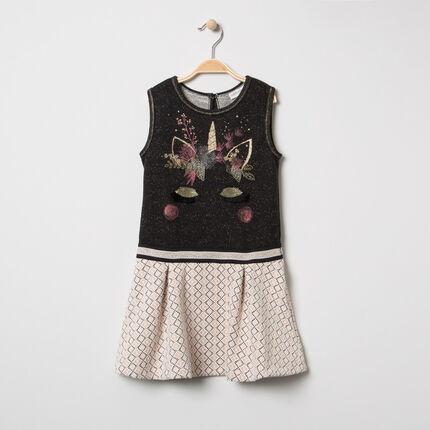 Αμάνικο φόρεμα με κεντημένο μονόκερο και ζακάρ μοτίβο