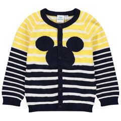 Gilet en tricot à rayures jacquard et motif Mickey Disney