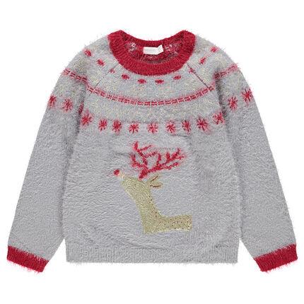Χριστουγεννιάτικο πλεκτό με χνουδωτή υφή και μοτίβο τάρανδο από χρυσαφί πούλιες