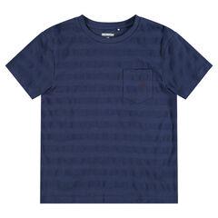 Κοντομάνικη μπλούζα με ριγέ ύφανση και τσέπη