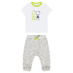 Σύνολο με μπλούζα με στάμπα και παντελόνι με μοτίβο με ζωάκια σε όλη την επιφάνεια