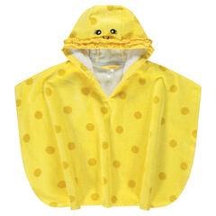 Κίτρινη πετσετέ κάπα-μπουρνούζι με πουά και κεντημένες λεπτομέρειες