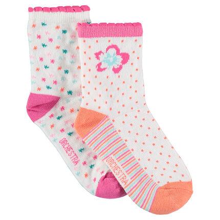 Σετ 2 ζευγάρια ασορτί κάλτσες με ζακάρ χρωματιστά μοτίβα