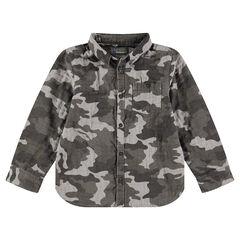 Μακρυμάνικο βαμβακερό πουκάμισο με μοτίβο παραλλαγής και τσέπη