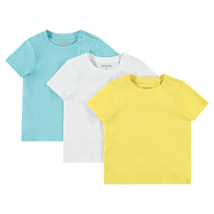 Σετ με 3 κοντομάνικες μονόχρωμες μπλούζες