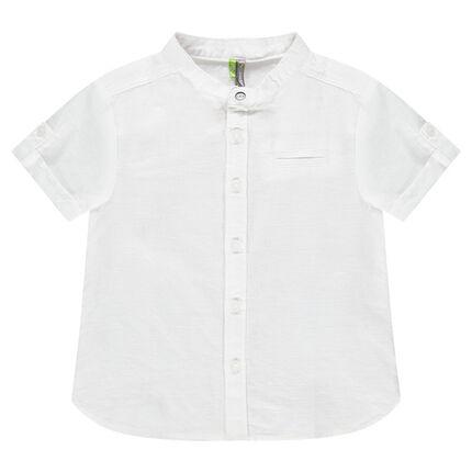 Κοντομάνικο βαμβακερό πουκάμισο με γιακά μάο