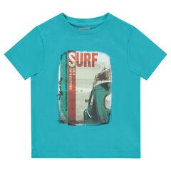 d6c859227beb Κοντομάνικη μπλούζα από ζέρσεϊ με διακοσμητική στάμπα
