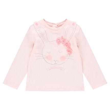 Μακρυμάνικη μπλούζα από ζέρσεϊ με τυπωμένα ανάγλυφα κουνελάκια και λουλούδια