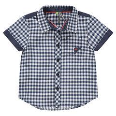Κοντομάνικο καρό πουκάμισο με τσέπη και λεπτομέρειες από σαμπρέ ύφασμα
