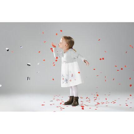 Μακρυμάνικο φόρεμα από δύο υλικά με διακοσμητικές στάμπες
