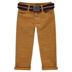 Βαμβακερό παντελόνι νηματοβαφή με μόνιμες τσακίσεις και αφαιρούμενη ζώνη