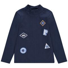 Sous-pull en jersey col cheminée avec badges patchés
