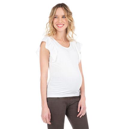 Κοντομάνικη μπλούζα εγκυμοσύνης με βολάν στα μανίκια