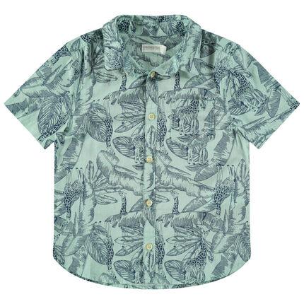 Κοντομάνικο πουκάμισο με εμπριμέ εξωτικό μοτίβο