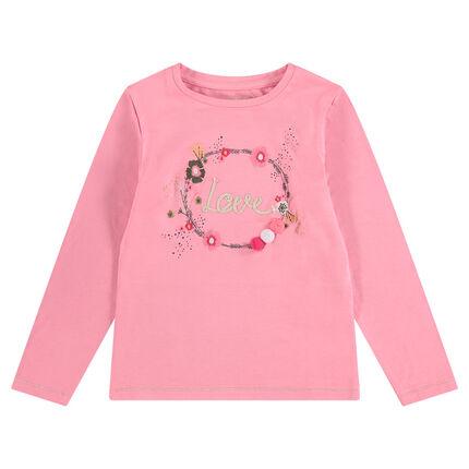 Μακρυμάνικη ζέρσεϊ μπλούζα με φλοράλ μοτίβο και φουντίτσες