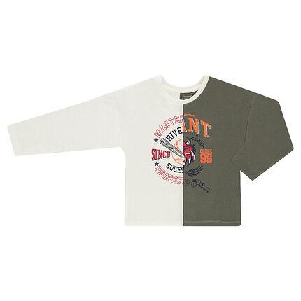 Παιδικά - Δίχρωμη μακρυμάνικη μπλούζα με φαντεζί μοτίβο