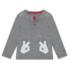 Μακρυμάνικη μπλούζα από ζέρσεϊ μελανζέ με γάντια του Mickey της ©Disney