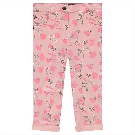 Βαμβακερό παντελόνι με εμπριμέ μοτίβο τριαντάφυλλα