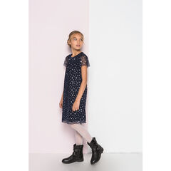 Κοντομάνικο φόρεμα από τούλι με αστεράκια και επένδυση βελούδο