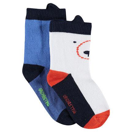 Σετ 2 ζευγάρια ασορτί κάλτσες με ανάγλυφα αυτάκια