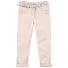 Slim παντελόνι με αφαιρούμενη ζώνη σε σχέδιο πλεξίδας