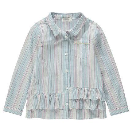 Μακρυμάνικο πουκάμισο με κάθετες ρίγες και βολάν