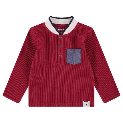 Μακρυμάνικη μπλούζα με κυψελωτή ύφανση και τσέπη