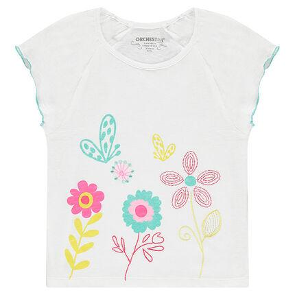 Κοντομάνικη μπλούζα από ζέρσεϊ slub με κεντημένα και τυπωμένα λουλούδια