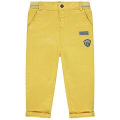 Παντελόνι κίτρινο σε ίσια γραμμή  με ελαστική μέση