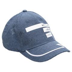 Καπέλο από σαμπρέ με τυπωμένα γράμματα