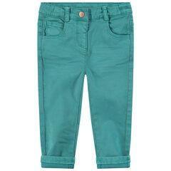 Slim βαμβακερό παντελόνι νηματοβαφή με μόνιμες τσακίσεις και κεντημένες καρδιές στη μέση