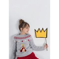 Παιδικά - Πλεκτό χριστουγεννιάτικο πουλόβερ με χνουδωτή ύφανση και χρωματιστές φουντίτσες σε σχήμα έλατου