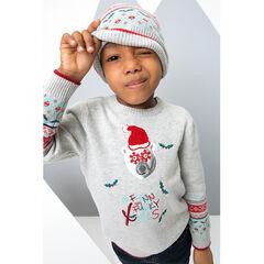 Πλεκτό χριστουγεννιάτικο με τυπωμένο αρκουδάκι και ζακάρ μοτίβο