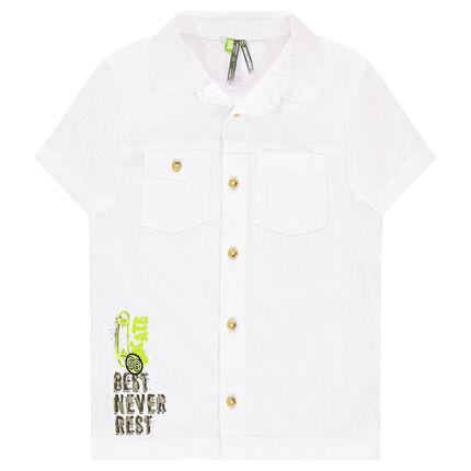 Κοντομάνικο βαμβακερό πουκάμισο με διακοσμητική στάμπα