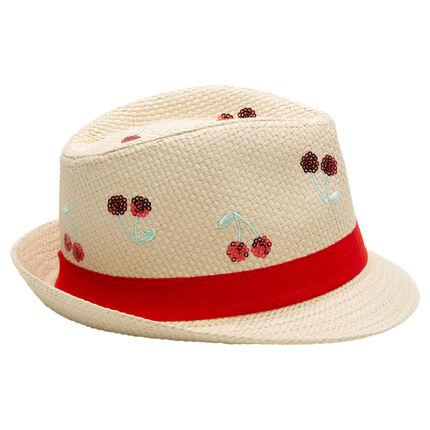 Καπέλο μπορσαλίνο με όψη ψάθας και κεντημένα κεράσια