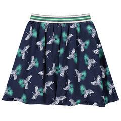 Εμπριμέ φούστα με μοτίβο πουλιά και λάστιχο στη μέση
