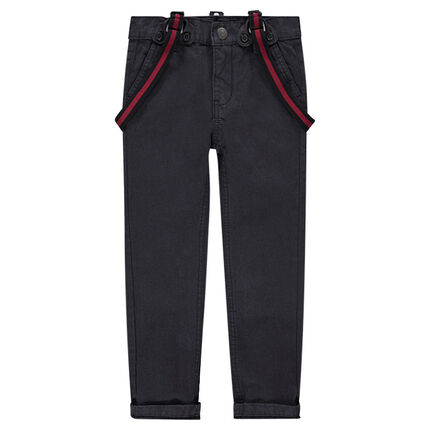 Μονόχρωμο υφασμάτινο παντελόνι με αφαιρούμενες τιράντες