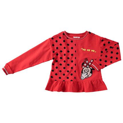 Φανελένιο φούτερ με πουά και κέντημα Μίνι της Disney