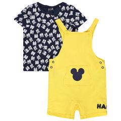 Σύνολο μπλούζα με μοτίβο μάτια και κίτρινη σαλοπέτα με τον Μίκυ της Disney