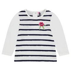 Μακρυμάνικη μπλούζα με ρίγες φεστόνι και κεντημένο λουλούδι