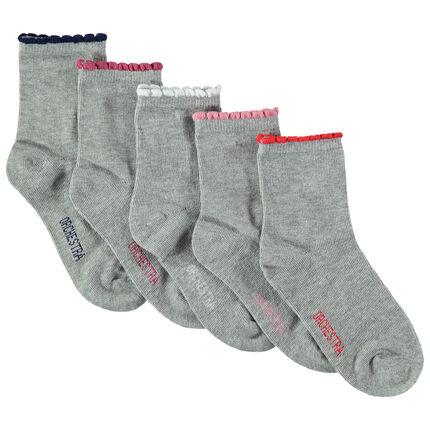 Σετ 5 ζευγάρια ασορτί κάλτσες με φεστόνι σε αντίθεση στο τελείωμα