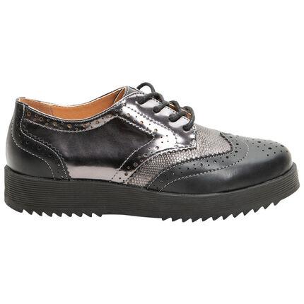 Ασημί δετά παπούτσια με διαφορετικές υφές και πλατφόρμα