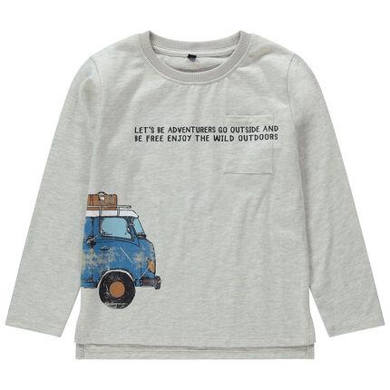 Μακρυμάνικη ζέρσεϊ μπλούζα με κρακελέ στάμπα αυτοκίνητο