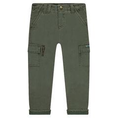Μονόχρωμο παντελόνι με ζέρσεϊ επένδυση και τσέπες