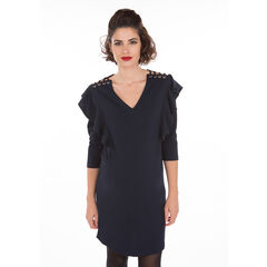 Φόρεμα εγκυμοσύνης με μανίκια 3/4, βολάν και καψούλια στους ώμους