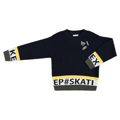Παιδικά - Πλεκτό πουλόβερ σε ανάφλυξη πλέξη με σήματα και φράσεις σε ζακάρ