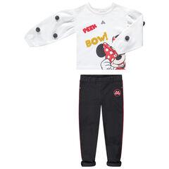Σύνολο φόρμας από φούτερ με φουντίτσες και στάμπα Μίνι της Disney και ριμπ παντελονοκολάν