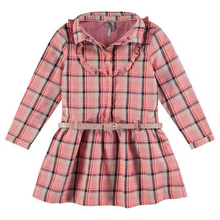 Μακρυμάνικο καρό φόρεμα με αφαιρούμενη μεταλλιζέ ζώνη